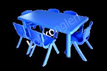 ชุดโต๊ะสี่เหลี่ยมผืนผ้า สีน้ำเงิน